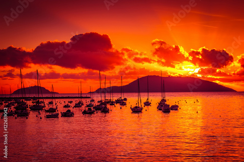 Bright beautiful sunset above the sea in Lerici, Liguria region, Italy.