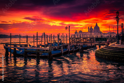 Foto op Canvas Venice Sunset in Venice, Italy. View of gondolas and Santa Maria cathedral.