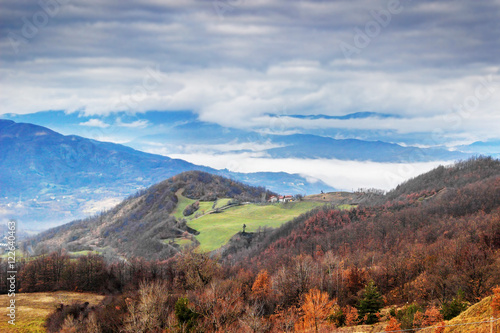 Fototapety, obrazy: Clouds above Apennine mountains in Italy. Winter day.