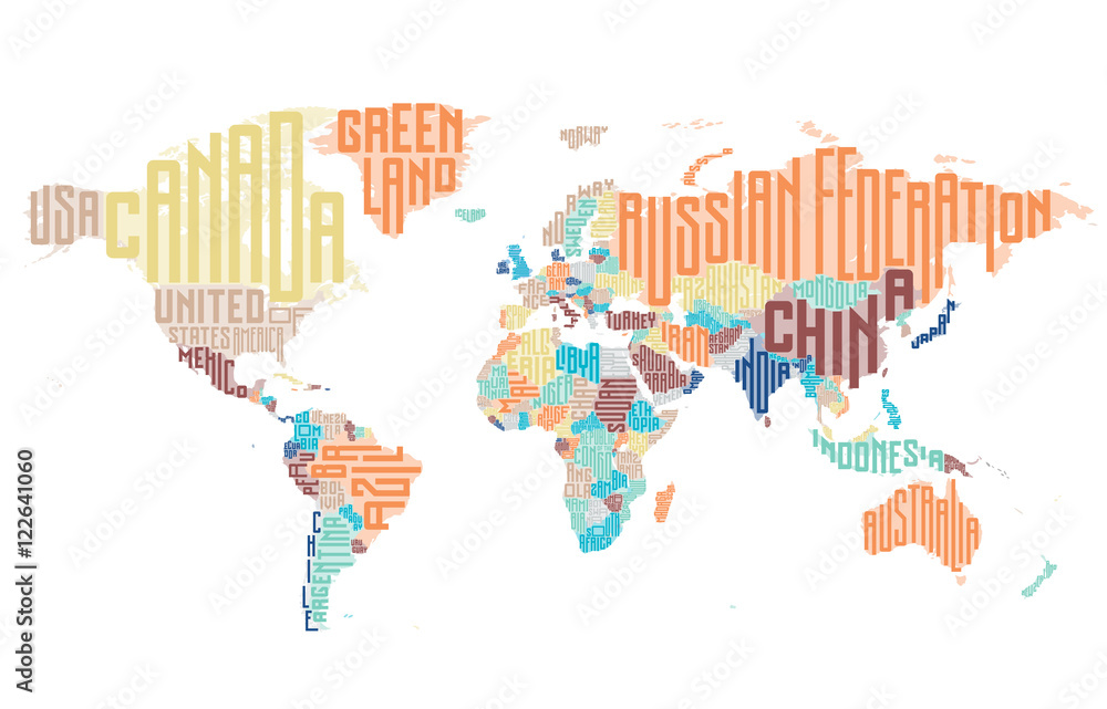 World map made of typographic country names Foto, Poster, Wandbilder ...