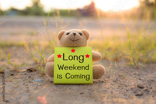 lonely teddy bear with word Long Weekend is Coming Plakát