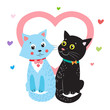 Love Cats. Vector Cartoon Animals Illustration. Two Cats. I Love You So Much. Favorite Cat Toys. Cats For Sale. Cats Claw. Cats Meow. Cats Toys. Cats Paw. Cats For Adoption. Vector Image.