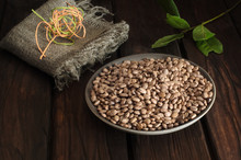 A Plate With Brown Beans With ...