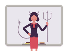 Woman Against The Whiteboard With Drawn Devil. Cartoon Vector Flat-style Concept Illustration