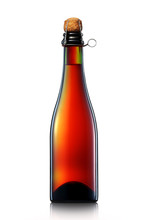 Bottle Of Beer Or Champagne Isolated On White