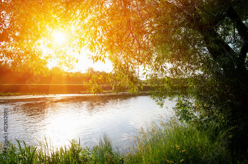 Tuinposter Zwavel geel river on sun