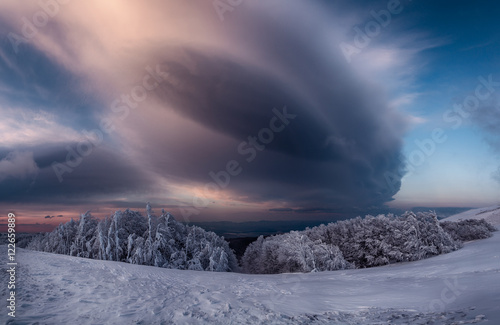Snow cloud over landscape