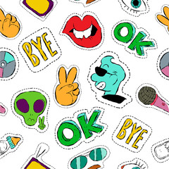Tapeta Fun hand drawn patch icon seamless pattern