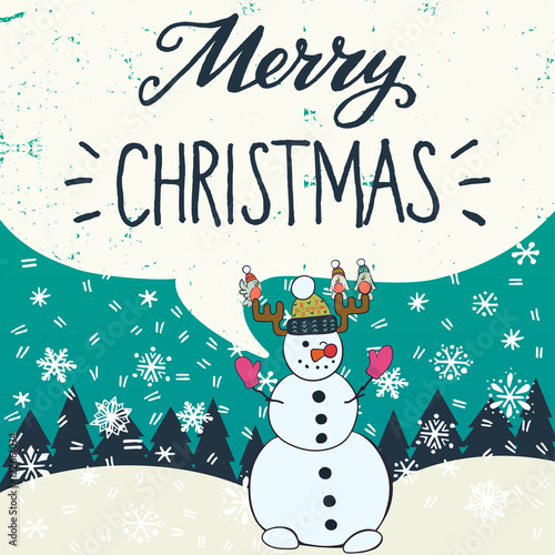 Foto op Plexiglas Kerstmis Merry Christmas hand lettering with funny cartoon snowman, fir trees and snow on the background. Great design elements for Xmas invitations or greeting cards, flyers, prints and holiday posters.