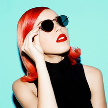 Retro Lady With Red Hair And S...