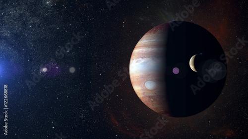 Fotografie, Obraz  Solar system planet Jupiter on nebula background.