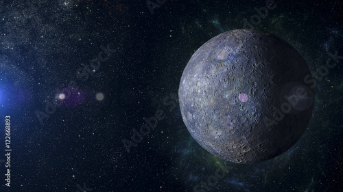 Foto Solar system planet Mercury on nebula background 3d rendering.
