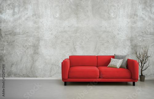 3d Illustration Of Empty Interior With Red Sofa Blank Concrete Wall Minimalist Living Room