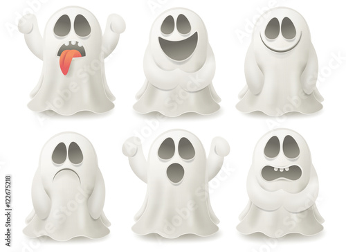 Photo  Set of ghost characters emoticons isolated on white background.
