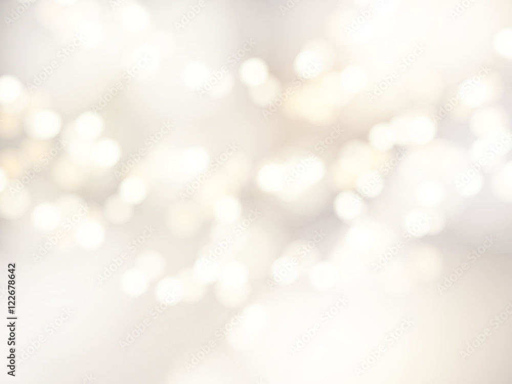 Fototapeta Vector bokeh background. Festive defocused white lights. Abstract blurred illustration.