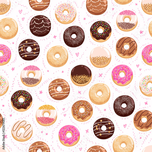 Cotton fabric Donuts and little hearts seamless pattern