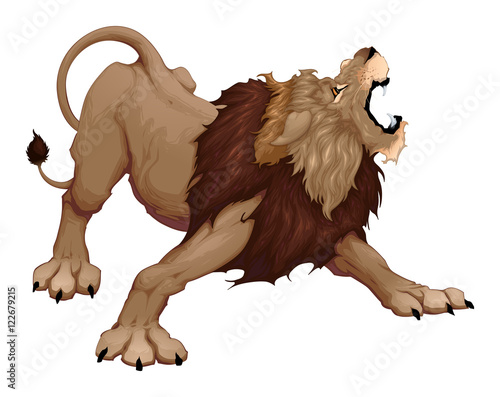 Door stickers kids room Angry lion is roaring