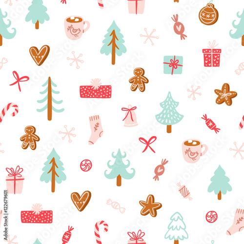 Stoffe zum Nähen Winter Urlaub Symbole nahtlose Muster