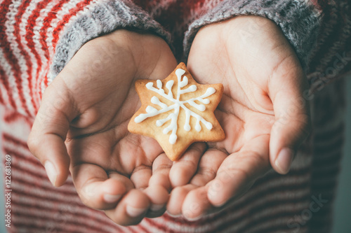Recess Fitting Cookies Xmas cookie in child hands