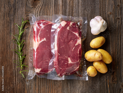Photo  Fresh beef steak for sous vide cooking