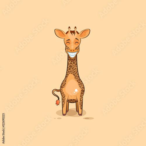 Emoji character cartoon Giraffe with a huge smile Poster