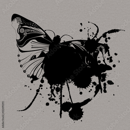 Stickers pour portes Papillons dans Grunge Grunge vector butterfly