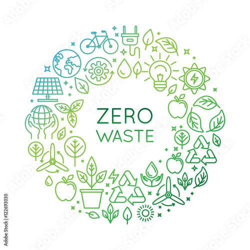 Vector logo design template - zero waste concept Wallpaper Mural