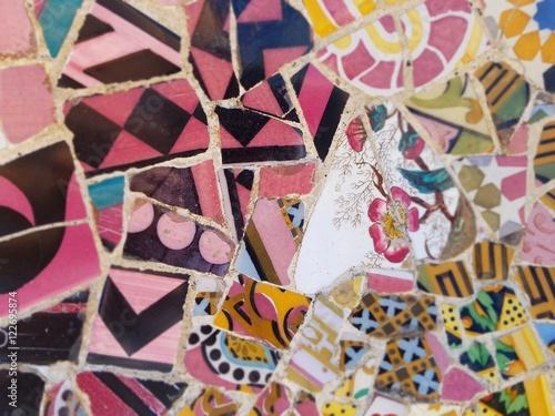 Fototapeta Travel Destination, Barcelona, Spain: Detail of Antonio Gaudi's mosaic art in public art landmark, Park Guell obraz na płótnie