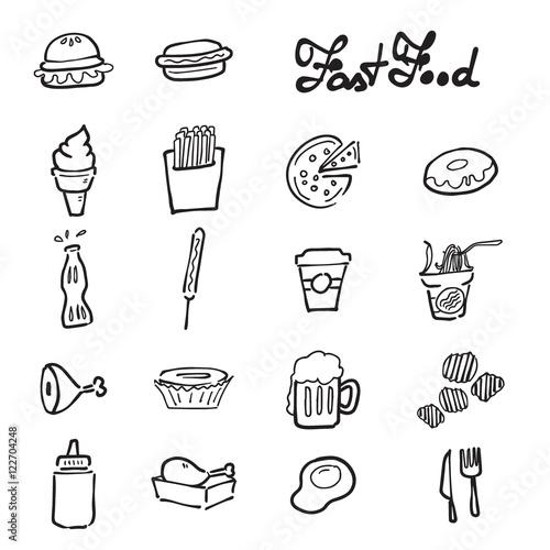 Fast food icons set doodle drawing © Tawesit