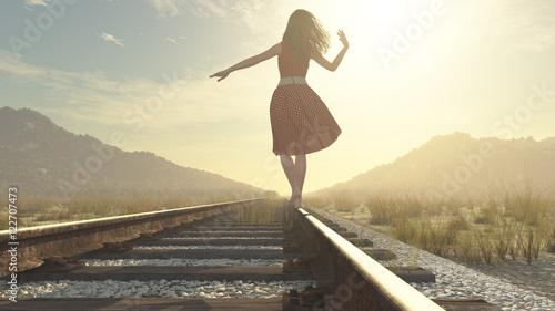 Fotografie, Obraz  A walking girl on the railway