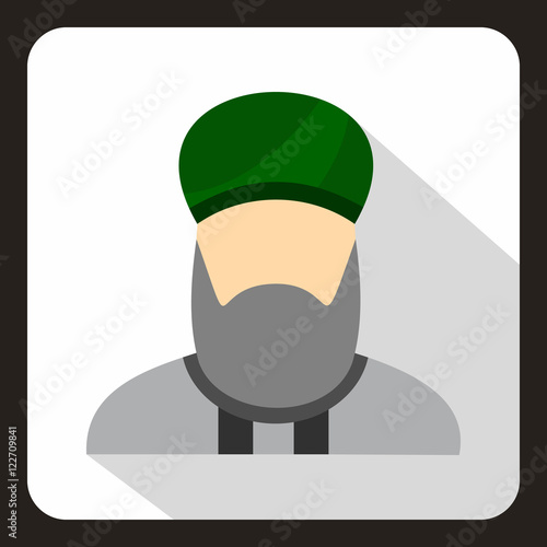 Valokuva  Muslim man with beard in green turban icon in flat style on a white background v