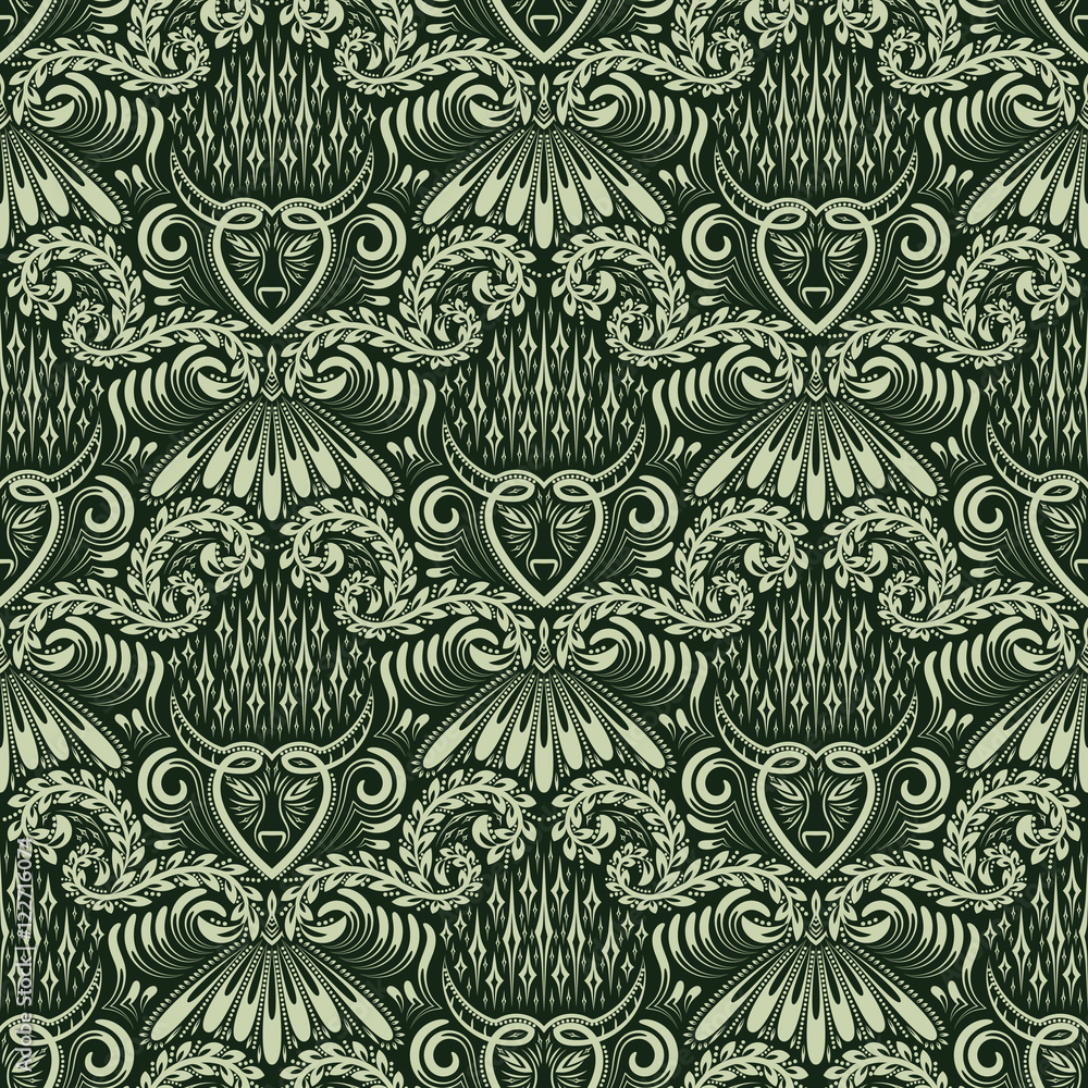 Damask seamless pattern repeating background. Green floral ornament in baroque style. Antique repeatable wallpaper