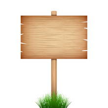 Empty Wood Sign Board  In Gree...