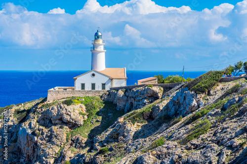 Montage in der Fensternische Leuchtturm Lighthouse close to Cala Rajada, Majorca