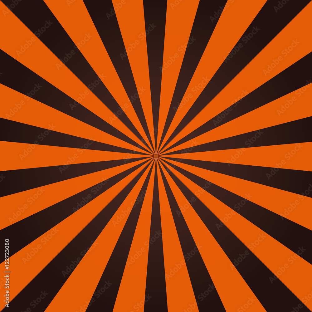 Fototapety, obrazy: Grunge sunbeam background in Halloween traditional colors. Orange and black sun rays abstract wallpaper.
