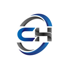 Simple Modern Initial Logo Vector Circle Swoosh Ch