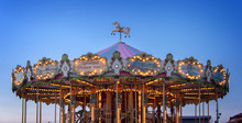 Retro Carousel Illuminated At ...
