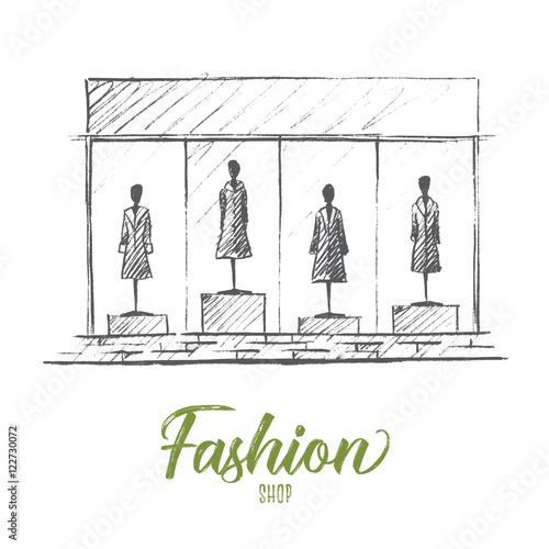 Obraz na płótnie Mannequins in fashion shop - vector pencil sketch