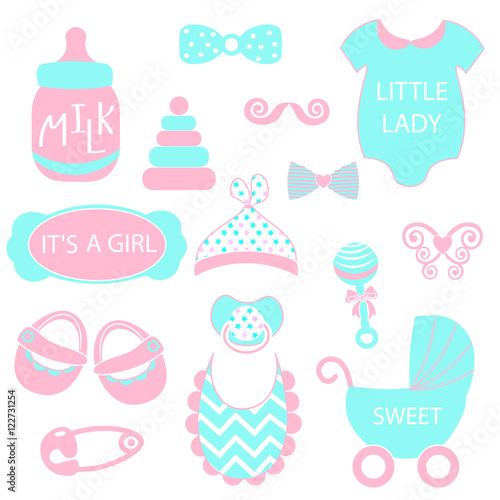 A Vector Illustration Of Cute Baby Girl Icons Like Nappy Pins