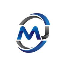 Simple Modern Initial Logo Vector Circle Swoosh Mj