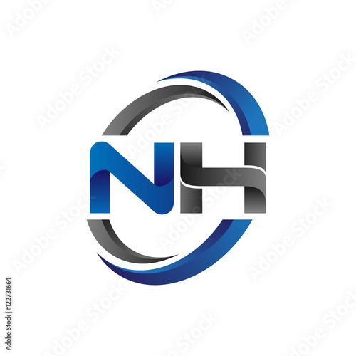 Fotografía  Simple Modern Initial Logo Vector Circle Swoosh nh