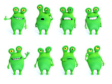 3D Rendering Collection Of Charming Green Monsters.