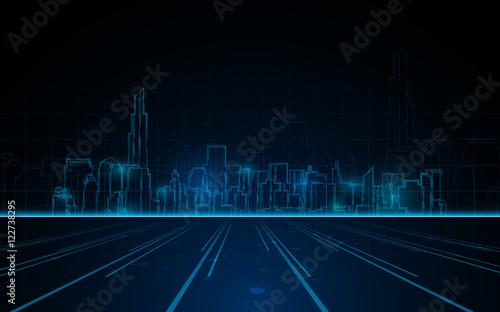 Fotografia  abstract tower cityscape blue light line design tech sci fi concept background