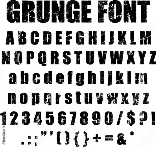 Photo Grunge Alphabet and Numeral Font Set Vector