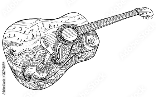 Stylized Classical Guitar Retro Musical Instrument Music