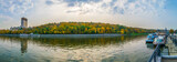 Panoramic view of Moskva river and Vorobyovy Gory park in the autumn, Moscow, Russia
