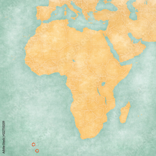 Map of Africa - Tristan da Cunha Canvas-taulu