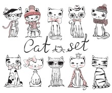 Set Of Stylish Cats. Vector Trendy Hipster Style Greeting Card Design, T-shirt Print, Inspiration Poster.
