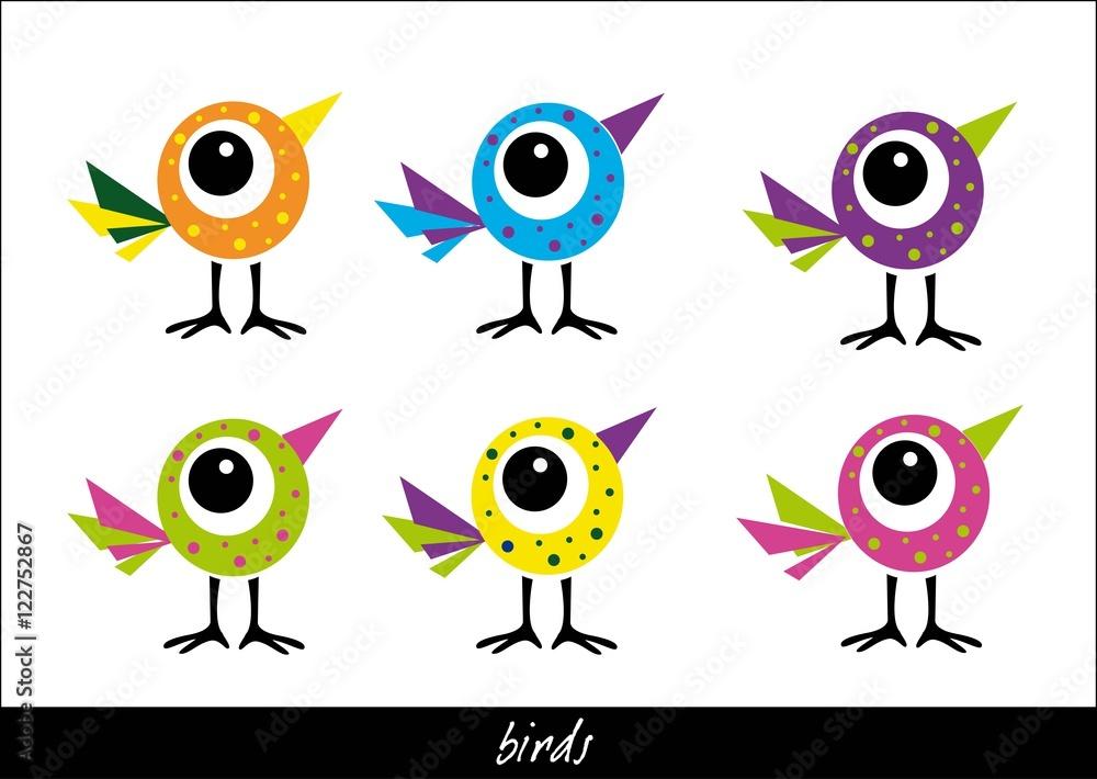 Fototapety, obrazy: bajkowe, kolorowe ptaszki