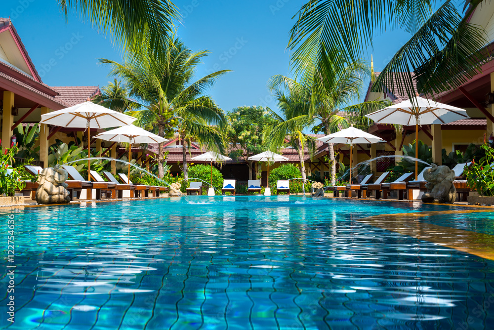 Fototapeta beautiful swimming pool in tropical resort , Phuket, Thailand